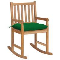 vidaXL Scaun balansoar cu perne verde, lemn masiv de tec