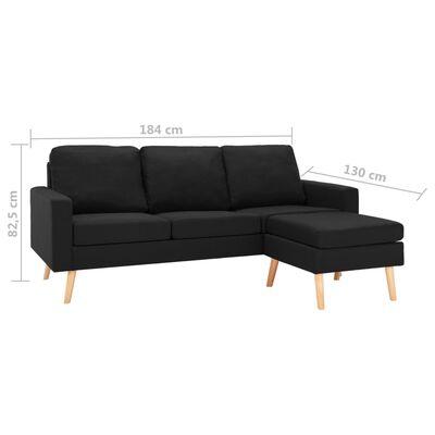 vidaXL Canapea cu 3 locuri și taburet, negru, material textil