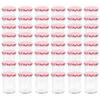vidaXL Borcane de sticlă pentru gem capace alb și roșu 48 buc. 400 ml
