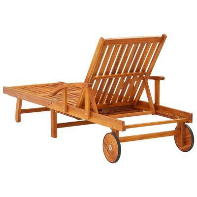 vidaXL Șezlong de grădină cu masă și pernă, lemn masiv de acacia