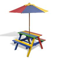 vidaXL Masă de picnic pentru copii cu bănci & umbrelă, lemn multicolor