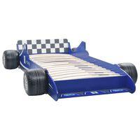 vidaXL Pat pentru copii mașină de curse, albastru, 90 x 200 cm