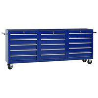 vidaXL Cărucior de scule cu 15 sertare, albastru, oțel