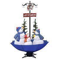 vidaXL Brad de Crăciun cu ninsoare și bază umbrelă albastru 170 cm PVC