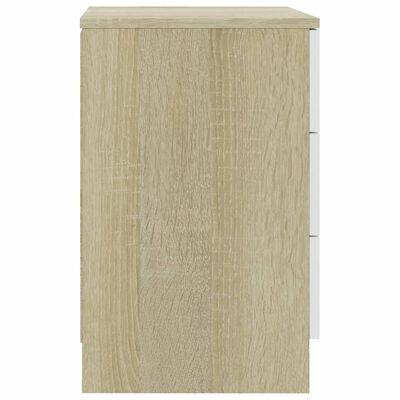 vidaXL Noptiere, 2 buc., alb și stejar Sonoma, 38 x 35 x 56 cm, PAL