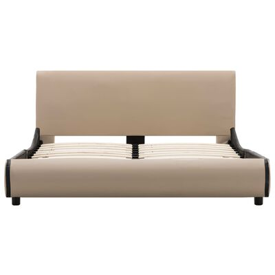 vidaXL Cadru de pat, cappuccino, 140 x 200 cm, piele ecologică