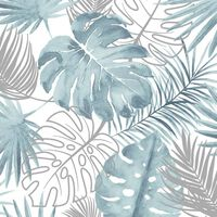 DUTCH WALLCOVERINGS Tapet model frunze Monstera, albastru