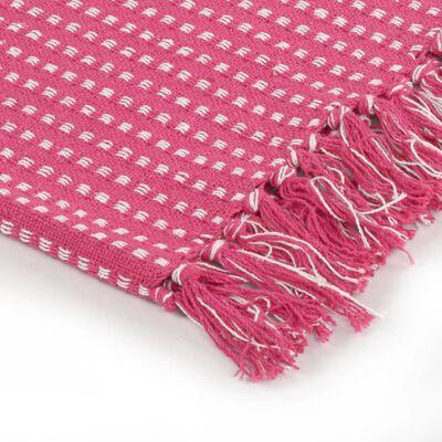 vidaXL Pătură decorativă cu pătrățele, bumbac, 220 x 250 cm, roz