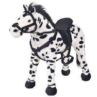 vidaXL Cal de jucărie din pluș XXL, alb și negru