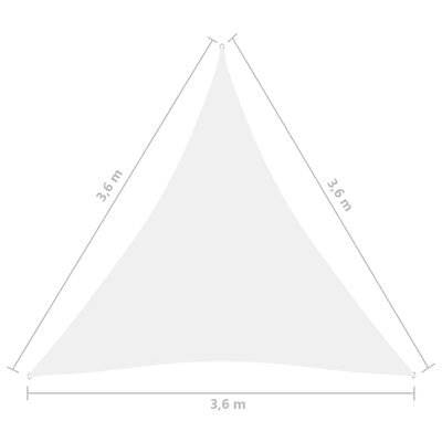 vidaXL Parasolar, alb, 3,6x3,6x3,6 m, țesătură oxford, triunghiular