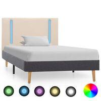 vidaXL Cadru pat cu LED, crem și gri închis, 90x200 cm, textil