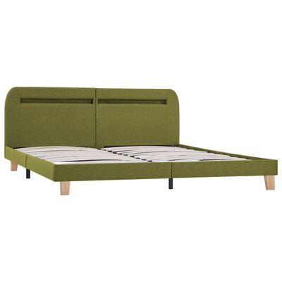 vidaXL Cadru de pat cu LED-uri, verde, 180 x 200 cm, material textil