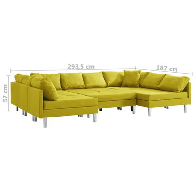 vidaXL Canapea modulară, galben, material textil