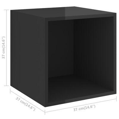 vidaXL Dulapuri de perete, 2 buc., negru extralucios, 37x37x37 cm, PAL
