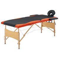 vidaXL Masă pliabilă de masaj, 2 zone, negru și portocaliu, lemn