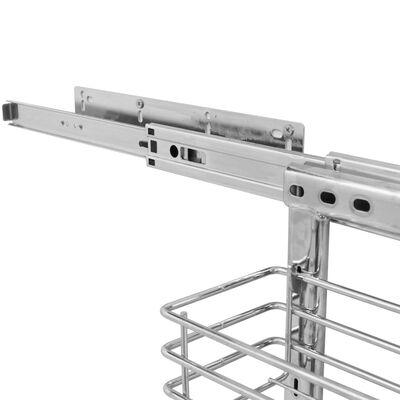 vidaXL Coș sârmă bucătărie retractabil 3 niveluri argintiu 47x35x56 cm