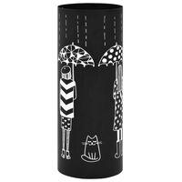 vidaXL Suport pentru umbrele, model femei, oțel, negru