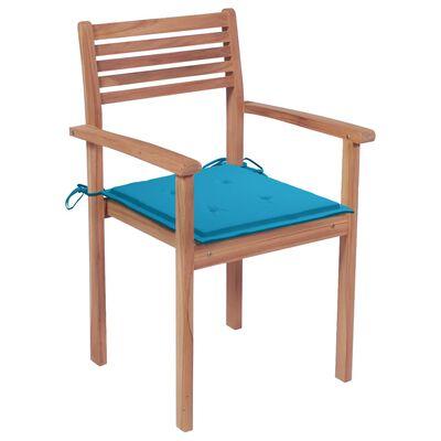 vidaXL Scaune de grădină cu perne albastre, 2 buc., lemn masiv de tec