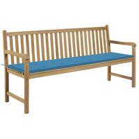 vidaXL Bancă de grădină, cu pernă albastră, 175 cm, lemn masiv de tec