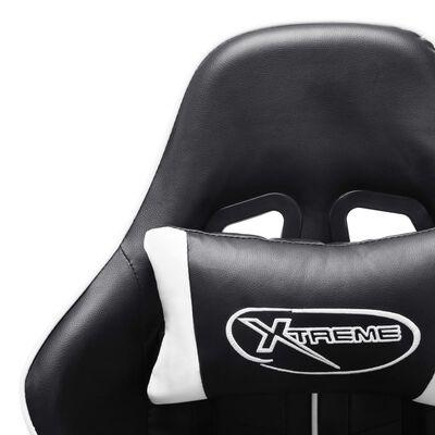 vidaXL Scaun de jocuri, negru și alb, piele artificială