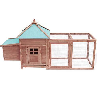 vidaXL Coteț păsări cu un cuibar, cafeniu, 193x68x104 cm, lemn de brad