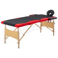 vidaXL Masă pliabilă de masaj, 2 zone, negru și roșu, lemn