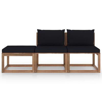 vidaXL Set mobilier grădină paleți cu perne, 3 piese,din lemn de pin tratat