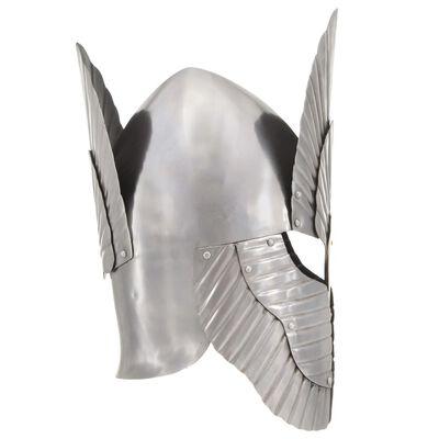 vidaXL Coif cavaler medieval, fantezie, jocuri roluri, argintiu, oțel