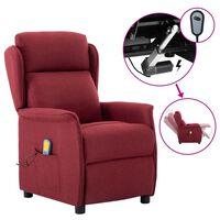 vidaXL Electric Massage Recliner Wine Red Fabric (289789+327164)