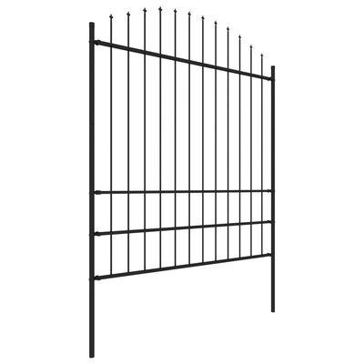 vidaXL Gard de grădină cu vârf suliță, negru, (1,75-2) x 10,2 m oțel