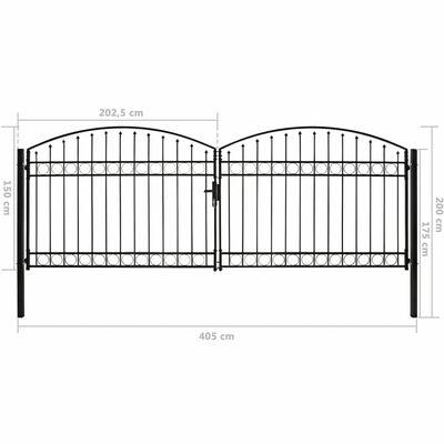 vidaXL Poartă de gard dublă cu arcadă, negru, 400 x 150 cm, oțel