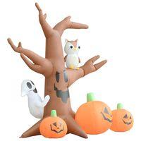 vidaXL Copac gonflabil fantome Halloween cu dovleci, 6 LED-uri, 2,6 m