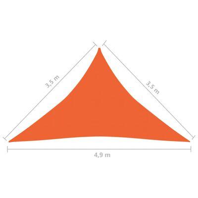 vidaXL Pânză parasolar, portocaliu, 3,5x3,5x4,9 m, HDPE, 160 g/m²
