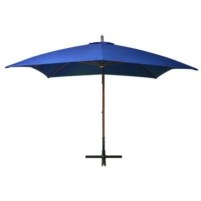 vidaXL Umbrelă suspendată cu stâlp, albastru azuriu, 3x3 m, lemn brad