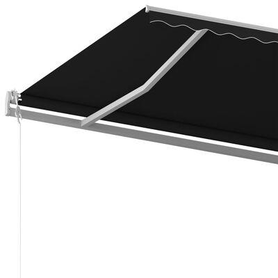 vidaXL Copertină retractabilă manual cu stâlpi, antracit, 6x3 m