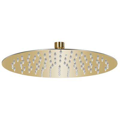 vidaXL Cap de duș rotund tip ploaie, auriu, 25 cm, oțel inoxidabil