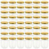 vidaXL Borcane din sticlă pentru gem, capac auriu, 48 buc., 230 ml