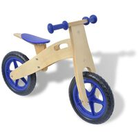 vidaXL Bicicletă pentru echilibru din lemn, Albastru