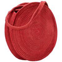 vidaXL Geantă de umăr rotundă, roșu arămiu, iută, lucrată manuală