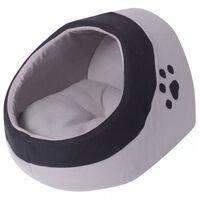 vidaXL Pătuț pentru pisici, XL, gri și negru