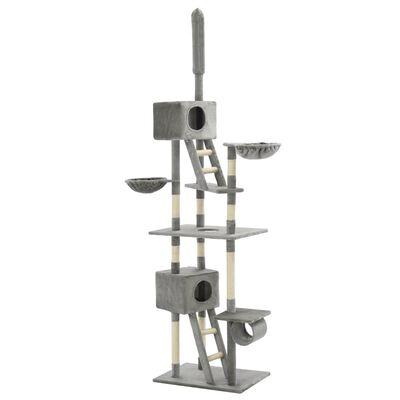 vidaXL Ansamblu pisici cu stâlpi din funie de sisal, 230-260 cm Gri