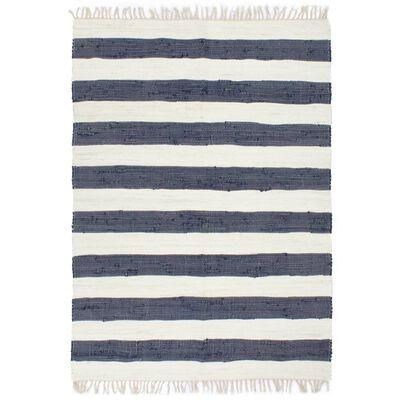 vidaXL Covor Chindi țesut manual, albastru și alb, 80 x 160 cm, bumbac