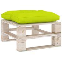 vidaXL Taburet de grădină din paleți, pernă verde aprins, lemn de pin