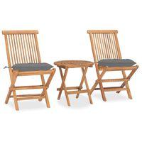 vidaXL Set mobilier pliabil exterior cu perne 3 piese, lemn masiv tec