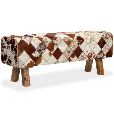 vidaXL Bancă din piele naturală de vacă, model în romburi