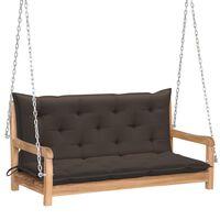 vidaXL Bancă balansoar cu pernă gri taupe, 120 cm, lemn masiv tec