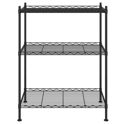 vidaXL Raft de depozitare, 3 niveluri, negru, 60 x 35 x 76 cm, 150 kg