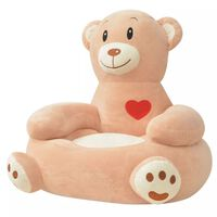 vidaXL Scaun din pluș pentru copii cu model urs, maro