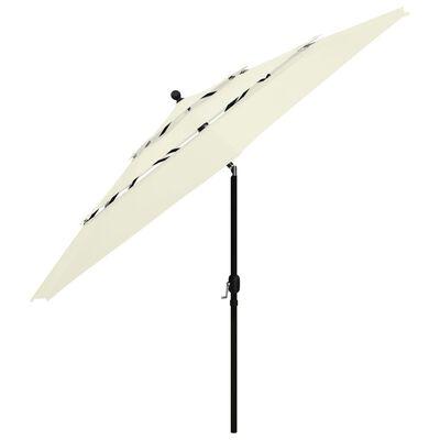 vidaXL Umbrelă de soare 3 niveluri, stâlp de aluminiu, nisipiu, 3,5 m