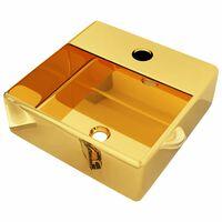 vidaXL Chiuvetă cu orificiu de robinet, auriu, 38x30x11,5 cm, ceramică